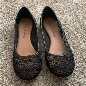 Lucky Brand Black Lace Flats